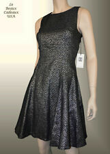IVANKA TRUMP Women Dress Size 16 BLACK METALLIC Sleeveless Knee Dressy NWT