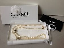 "NEW Chanel Classic Big CC Logo Pearl Necklace 42"" Crystal Gold Plated"