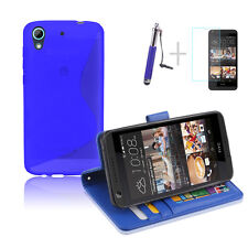BLUE Wallet 4in1 Accessory Bundle Kit TPU Case Cover For HTC Desire 626