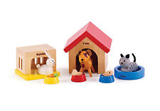 E3455 HAPE Wooden Dolls Family Pets [Happy Family] Toddler Children Age 3yrs+