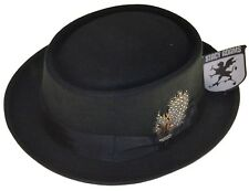Stacy Adams Porkpie Wool Felt Fedora Hat Black 2xl