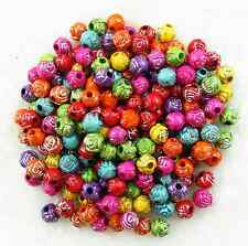 200Pcs Mixed Color Acrylic Rose Flower Spacer Loose Beads 6mm