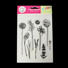 Clear Unmounted Silicone Stamps 10 Plant Patterns Silicone Seal Scrapbooking