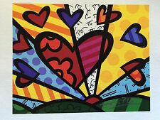 "Romero Britto: original ""NEW DAY MINI"", Leinwand, handsigniert + Rizzi Pin"