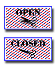 OPEN AND CLOSE BARBER SHOP HAIR DRESSERS METAL SIGN,SHAVE AND CUTS,DECOR