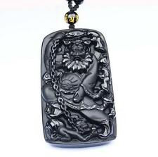 natural Obsidian Hand carved black buddha guanyin zen Meditation pendant