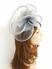 New Church Derby Wedding  Poly Fascinator Party Dress Hat w Headband FS-06 Gray
