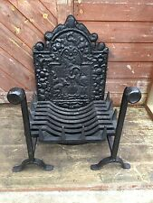 Cast Iron Dogs Fire Grate Swan Basket Inglenook Fireplace + Fireback Backplate