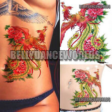 LARGE SEXY COLORFUL PHOENIX BELLY BACK BODY ART WOMEN TATTOO TEMPORARY STICKER