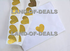 50 GOLD HEART stickers envelope seals, embossed metallic foil stickers wedding