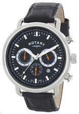 Rotary Men's Black Dial Black Leather Strap Chronograph Watch GS00480/04