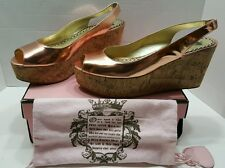 Juicy Couture Catalina Cork Wedges Metallic Pink Shoes - Size 10