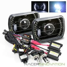 8000K Hi-Low HID/7x6 H6052/H6054 White LED Black Housing Projector Headlight