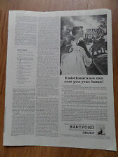 1959 Hartford Insurance Ad Underinsurance can cost you your Home