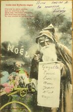 1910 Bergeret Christmas Postcard: Pere Noel/Santa Claus w/List - Toys & Doll