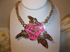 Betsey Johnson Phototech Layered Cut Out Rose Gold Tone Necklace NWT $50