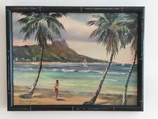 "VINTAGE oil painting Hawaii artist Stephen Sands, ""Beautiful Hawaii"" 1974 17x13"