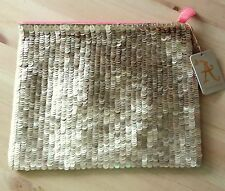 Accessorize woman girl champagne gold matt shiny sequin party clutch zip bag