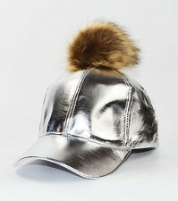 Cool  faux FUR REMOVEABLE POM POM CAP Silver