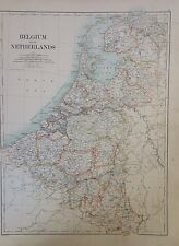 Belgium And The Netherlands - Denmark Antique Map 1891 Large 2 Sided Atlas