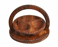 Wooden Collapsible basket carved- Rosewood-12inc. 3 Compartment From USA Seller
