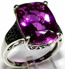 Radiant Orchid Quartz, Thai Black Spinel Ring Sterling Silver (Size 8) 12.58 Ct