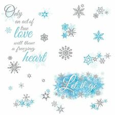 FROZEN LET IT GO Quote Wall Decals Snowflakes Disney Phrase Room Decor Stickers