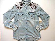 Ralph Lauren Denim and Supply Chambray Indian Embroidered Denim Shirt Slim L