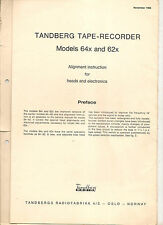 Tandberg reel to reel tape recorder model 64x+62x alignement instruction for head