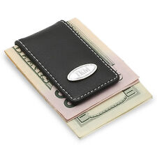 Personalized Gentry Black Leather Magnetic Money Clip - Free Engraving