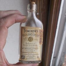 TEACHER'S HIGHLAND CREAM SCOTCH WHISKY MINI POCKET FLASK LABELS & CORK 1930 ERA