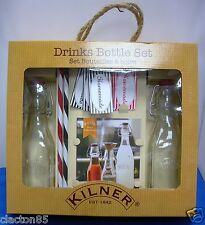 KILNER VINTAGE RETRO DRINKS COCKTAIL MAKING SET 0.25L CLIP TOP BOTTLES RECIPE
