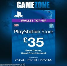 PlayStation Network £35 GBP - 35 Pounds PSN Store Card Key - PS4 PS3 PSP – UK