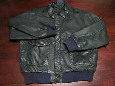 Vtg Mens Leather Bomber Black Motorcycle Rider Full Zip Black Jacket Coat Sz M
