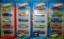 4)  Hot Wheels FERRARI,  WORLD RACE,  MUSTANG, MUSCLE MANIA 5 pack diecast cars