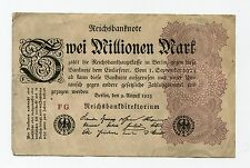 OLD GERMANY 2 MILLION MARK REICHSBANK NOTE - date 1923 - GERMAN INFLATION MONEY