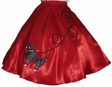 "Red SATIN 50s Poodle Skirt _ Adult Size SMALL _ Waist 25""-32"" _ Length 25"""