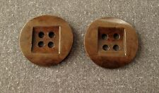 2 Vintage 20's huge art deco marbled brown galalith buttons