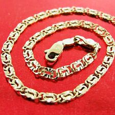 AN600 GENUINE REAL 18K YELLOW G/F GOLD SOLID CLASSIC ANTIQUE LINK NECKLACE CHAIN