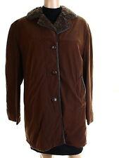 Gleneagles 60s Vintage Brown Faux Fur Lined Jacket Coat UK 12