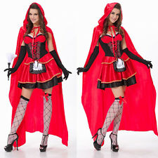 Little Red Riding Hood Cosplay Fancy Dress Cloak Halloween Adult Lady Costume