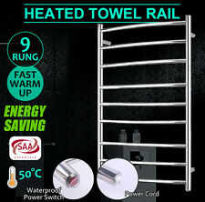 New 9 Bar Round Electric Heated Warmer Stainless Steel Towel Rail Rack Bathroom