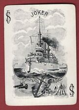 Single Swap Playing Card JOKER H25 BATTLE WAR SHIP ANCHOR GUNS ANTIQUE OLD WIDE