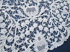 Antique Rosaline Perle Bobbin  handmade lace/Oval from off white cotton