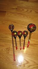 Vintage Collectible Russian Khokhloma Lacquer Hand Painted Wooden Spoons Set 5