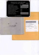 US Army HMMWV M998 Data Plate Identification Plate Hummer NOS !!! LOOK