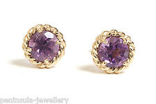 9ct Gold Amethyst Stud earrings Boxed Made in UK