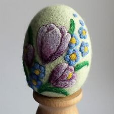 Handmade felted Easter egg with beatiful crocuses , 3D effect, 3 ¼in.