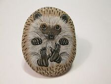 Hedgehog hand painted on a stone - pet rock - by Ann Kelly