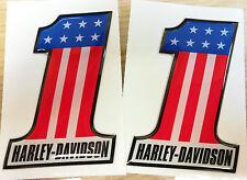 COPPIA ADESIVI RESINATI 3D HARLEY DAVIDSON NUMERO UNO - NUMBER ONE - USA